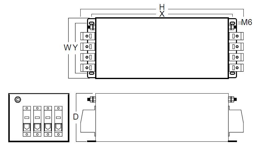 Three Phase + N MHU 4130-4180 Case Dims